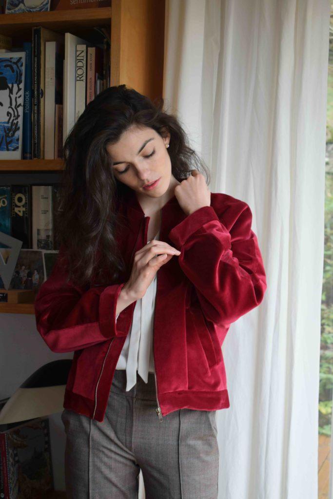 Maison alfa mode éthique blouse bordeaux