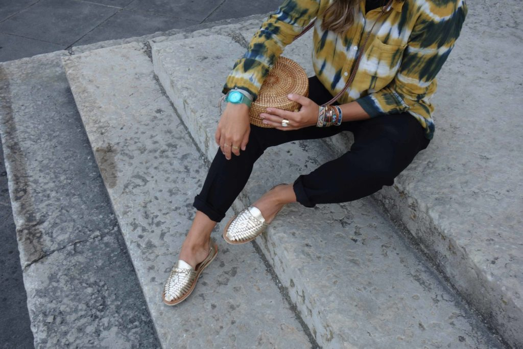 Mapaches mode éthique sandales tressées cuir Mexique
