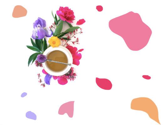 flatlay tisane infusion sommeil fleurs rose