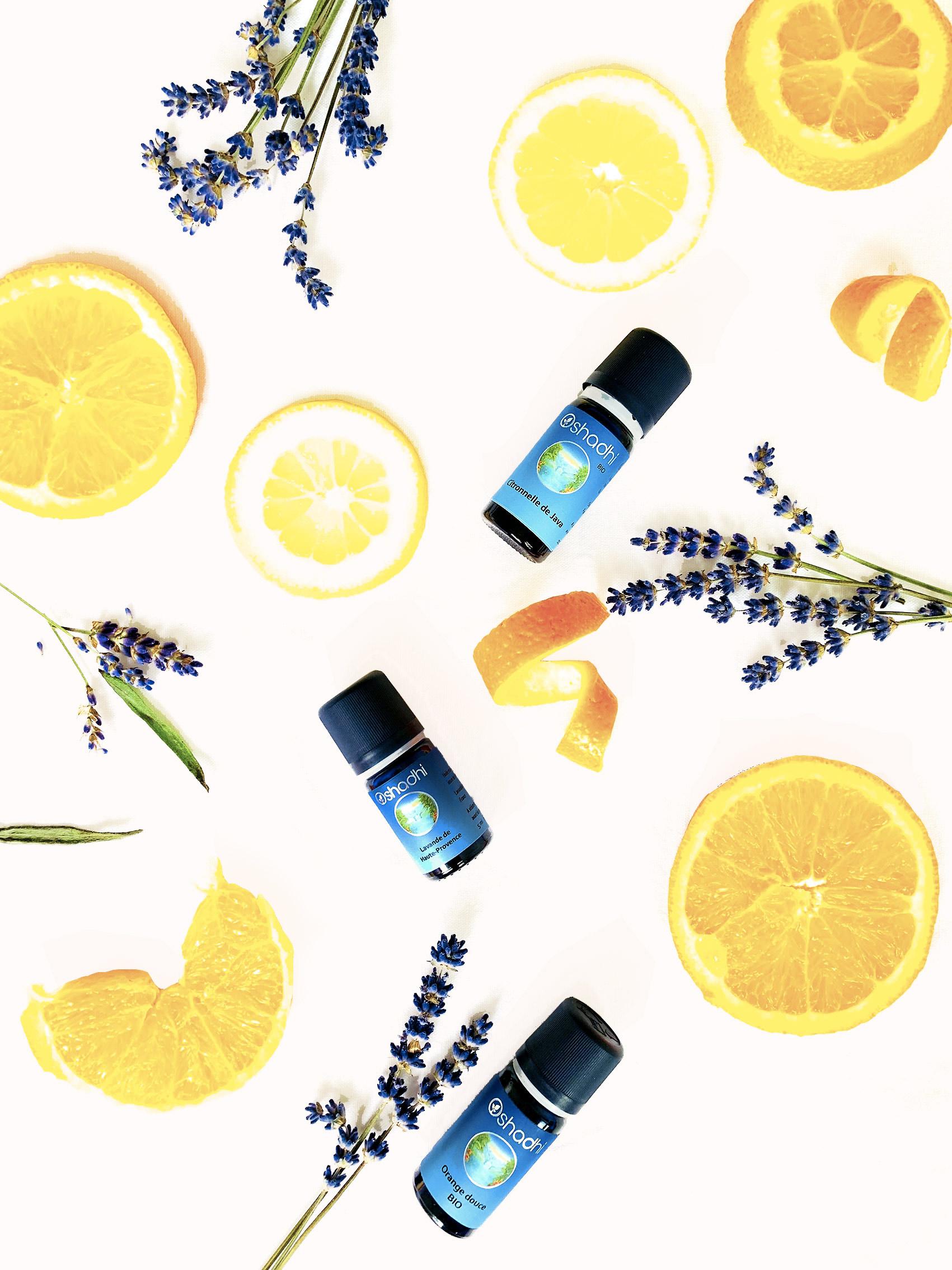 huiles essentielles 3 flatlay oshadhi citron orange lavande