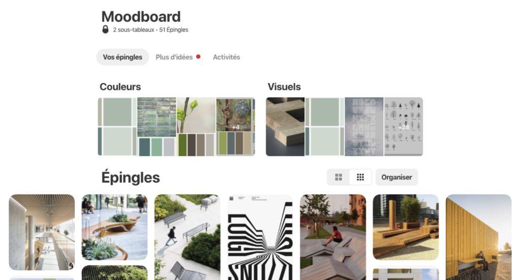 pinterest vue d'ensemble tableaux sous tableaux épingles moodboard inspiration