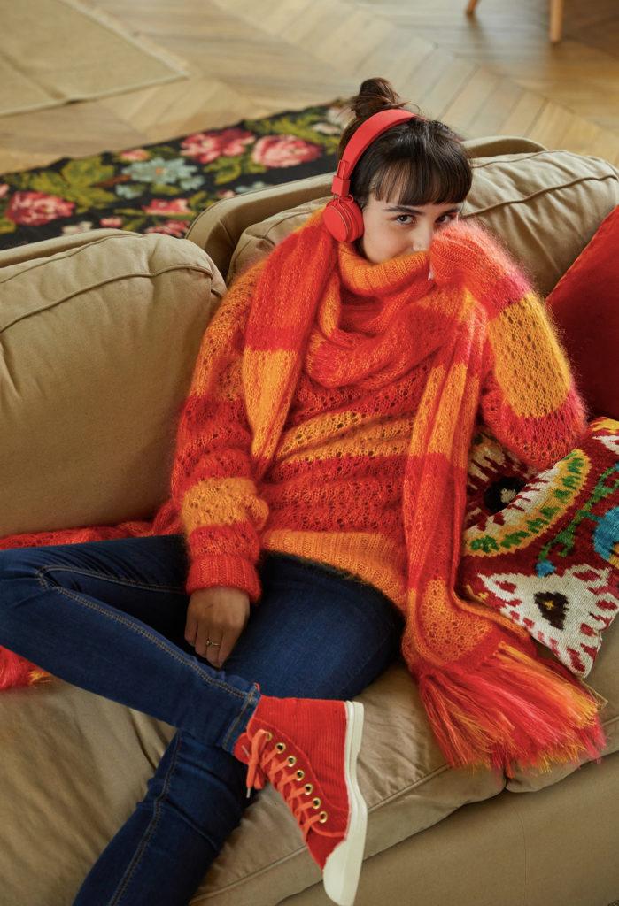 luzerne mode éthique pull maille écharpe orange